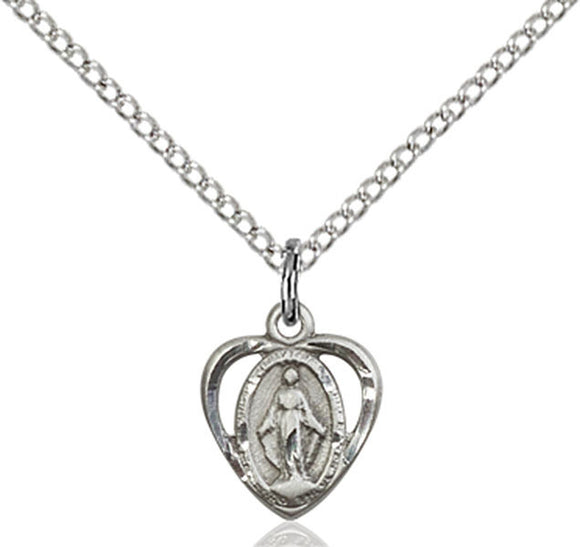 Small Sterling Heart Shaped Miraculous Medal on Chain