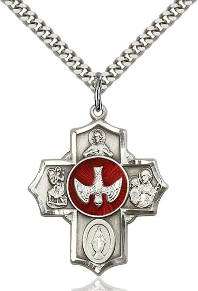 5 Way Medal with Red Enamel Dove in Center