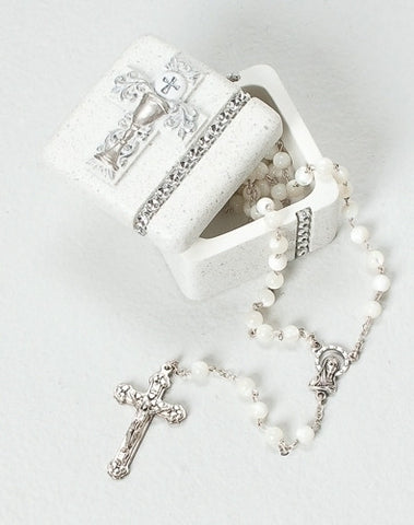 Silver Scroll Rosary/Keepsake Box