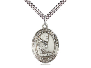 "St. Padre Pio Sterling Silver Medal with 24"" Chain"