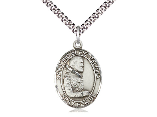 St. Padre Pio Sterling Silver Medal with 24