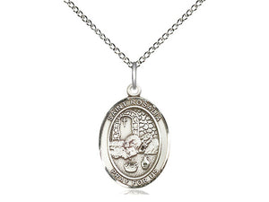 "St. Rosalia Patronage Against Plagues Sterling Silver Medal with 18"" chain"