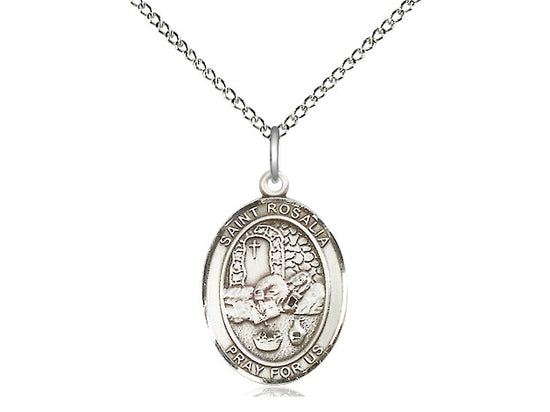 St. Rosalia Patronage Against Plagues Sterling Silver Medal with 18