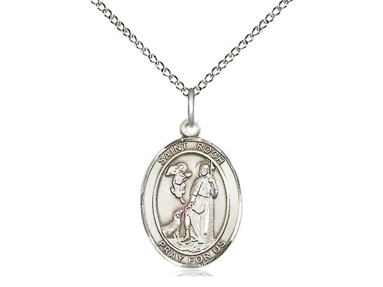 St. Roch medium sterling silver medal with chain