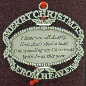 Christmas From Heaven.Merry Christmas From Heaven Ornament