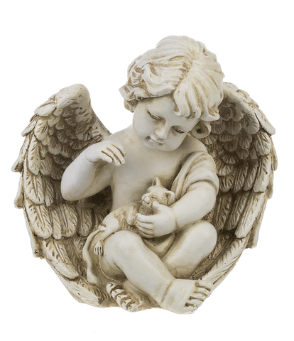 Angel Holding Cat Statue
