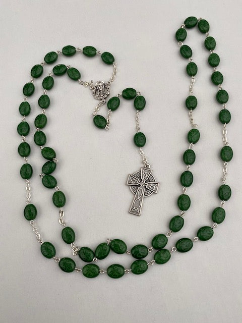 Green Shamrock Rosary with Celtic Cross