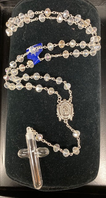 Crystal Holy Water Cross Rosary