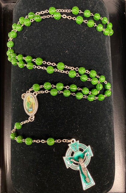 St. Patrick Rosary with Green Enamel