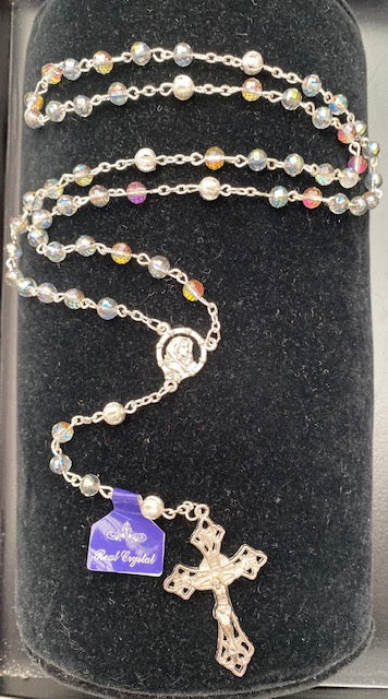 Multi-Colored Crystal Rosary with Silver Filigree Our Father Beads