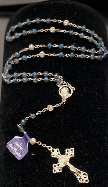 Blue Crystal Rosary with Silver Filigree Our Father Beads