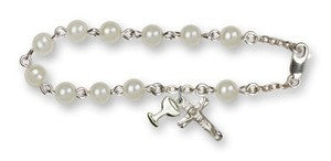 6mm Immitation Pearl Rosary Bracelet 6 1/4