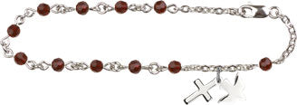 Ruby Rosary Bracelet with Cross & Dove