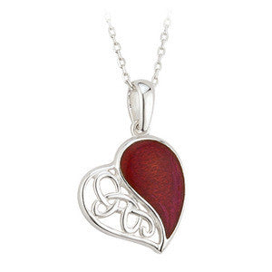 Sterling Silver Red Enamel Heart Pendant