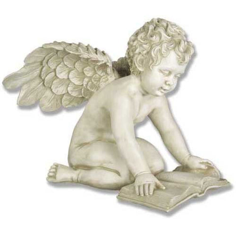 Angel with Book Antique Stone