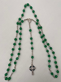 6mm Clear and Green Glass Rosaries