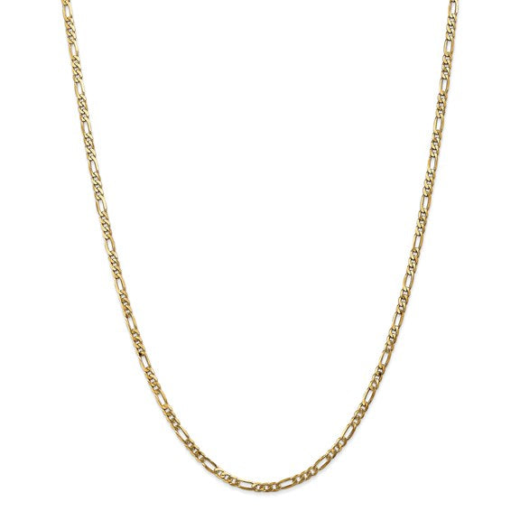 14kt Yellow Gold Flat Figaro Chain