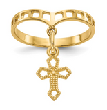 14k Polished Cross Dangle Charm Ring