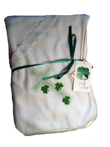 Irish Cross Christening Blanket with Shamrocks