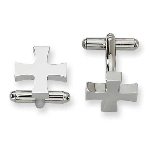 Stainless Steel Polished Cross Cufflinks