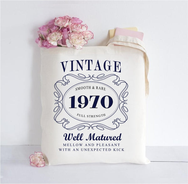 Vintage Birthday Year - Personalised Cotton Tote bag  (Any Years)