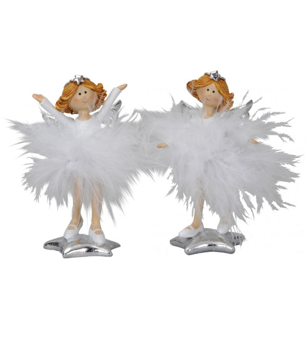 Standing Feather Skirt Angel Figures 10cm