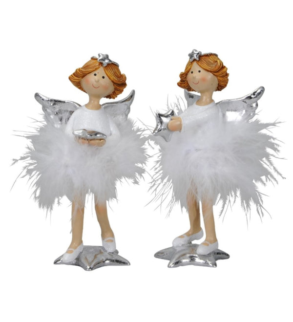 Standing Feather Skirt Angel Figures - 14cm