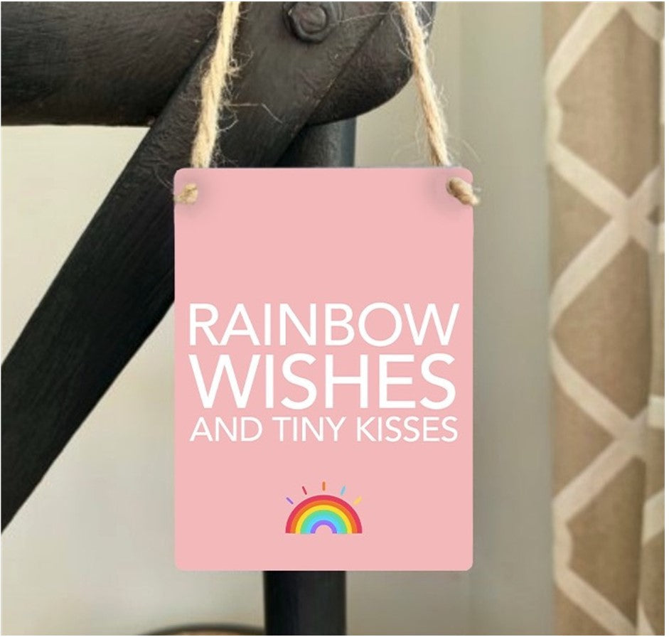 Mini Metal Sign - Rainbow Wishes and Tiny Kisses