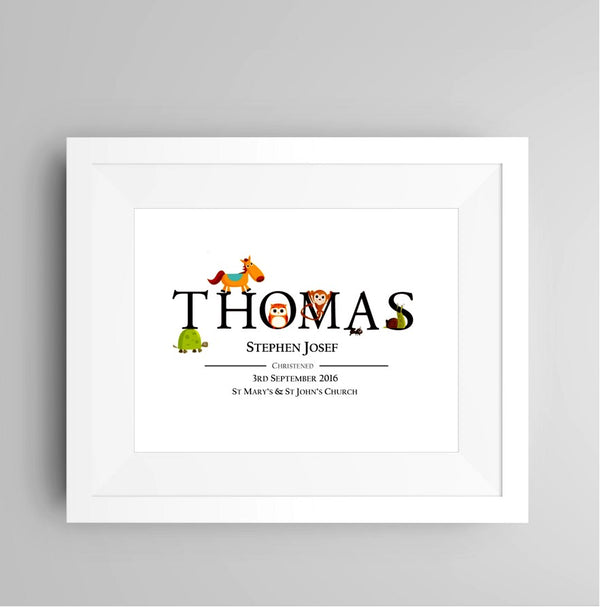 Personalised Animal Name Framed Print