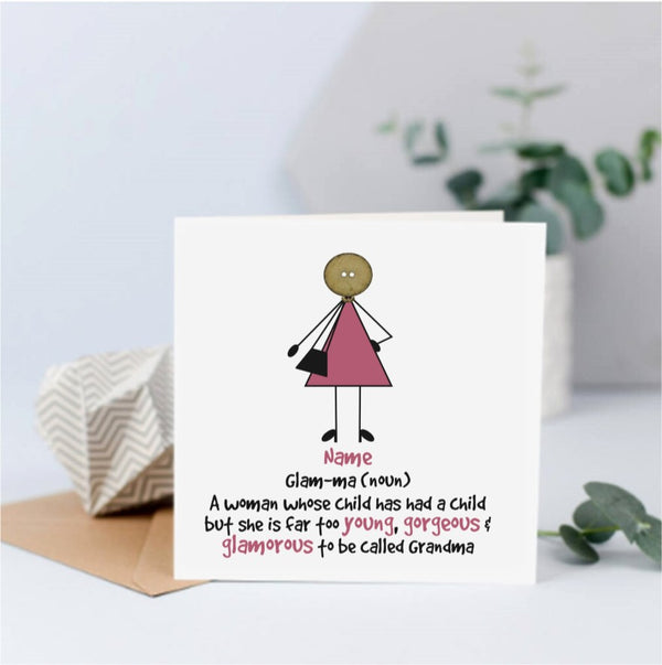 Personalised Glam-ma New Baby Card - Button Head Family