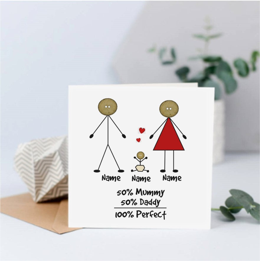 Personalised 100% Perfect New Baby Card - Button Head Family