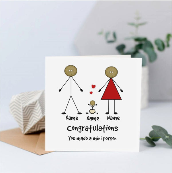 Personalised Mini Person New Baby Card - Button Head Family