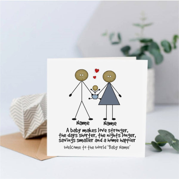 Personalised a New Baby Card - Button Head Family