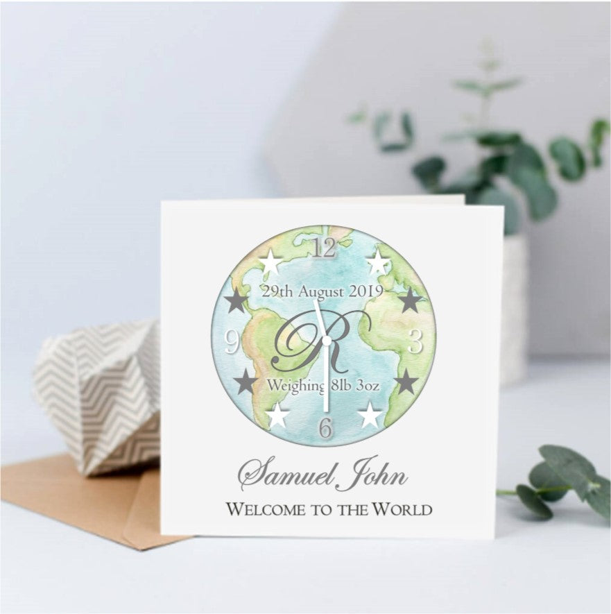 Personalised Welcome to the World - New Baby Card