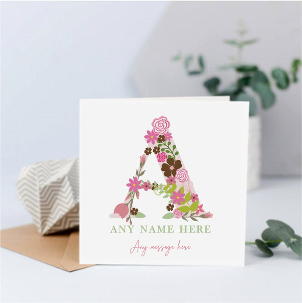 Personalised Floral Initial Name Card