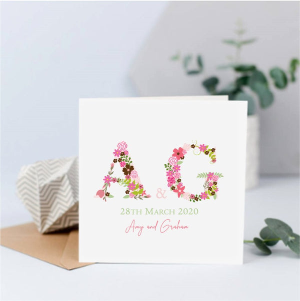 Personalised Floral Initials Couple Card