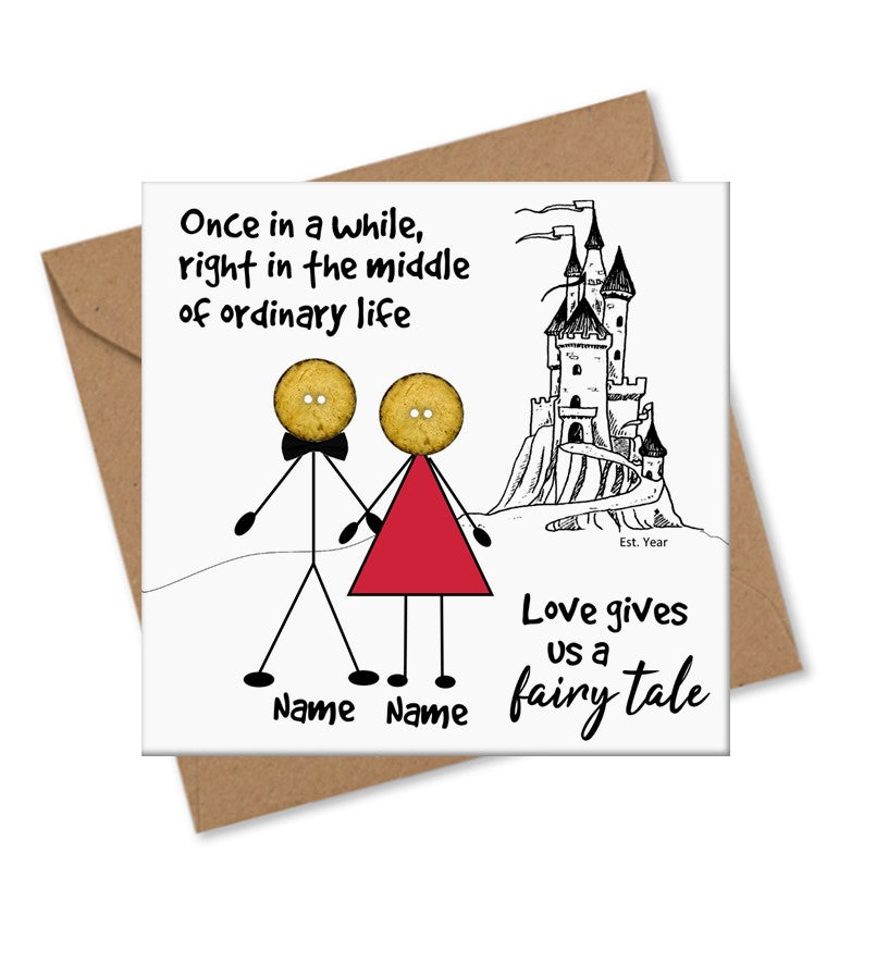 Personalised Button head family love valentine card
