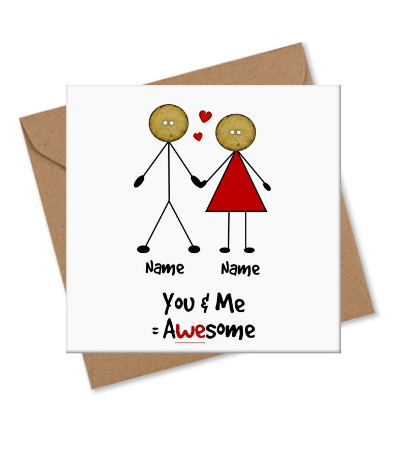 couple valentine love personalised card