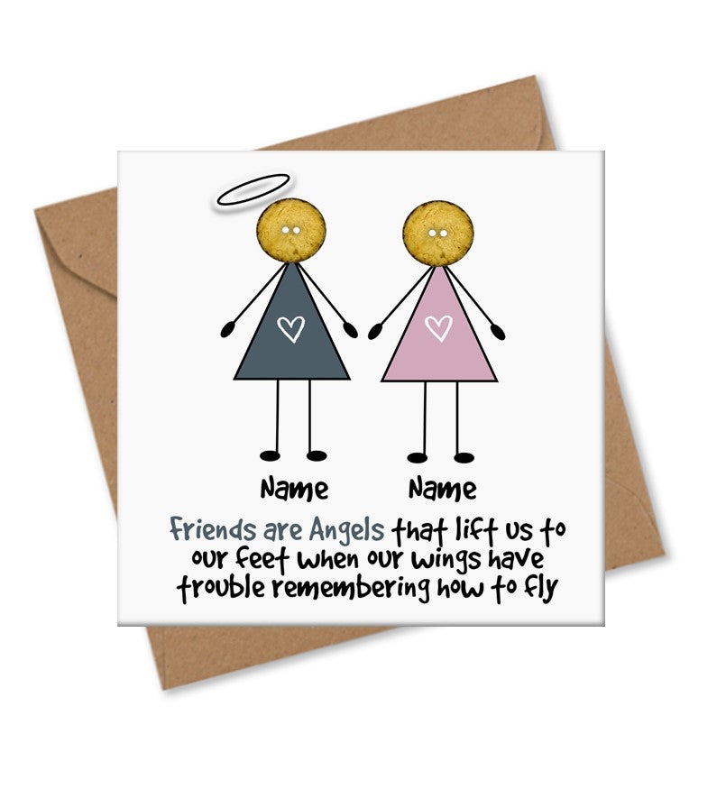 Personalised Angel Friends Appreciation Card - Button Head Family