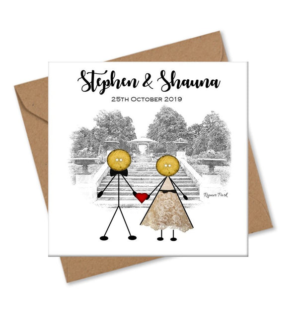 Personalised Wedding Venue Card - Button Head Family