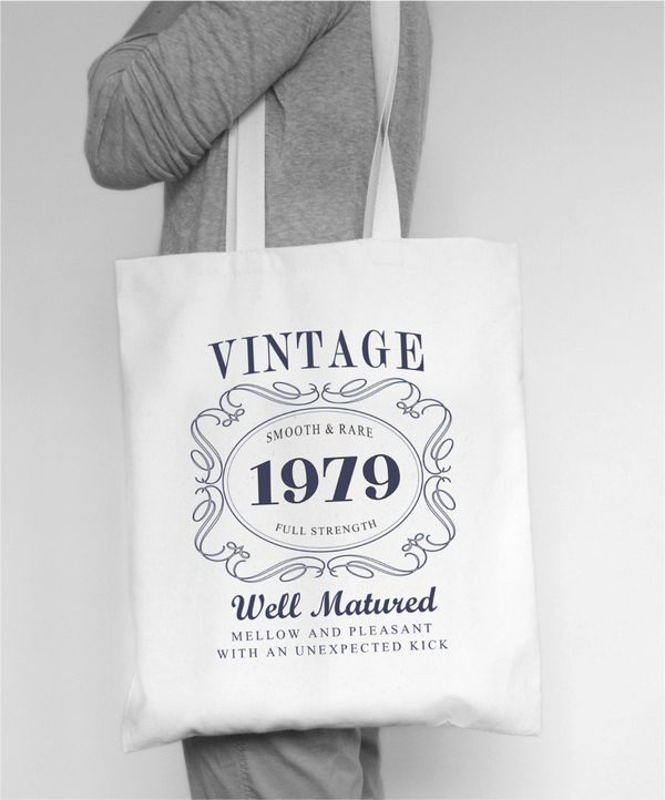 Vintage Birthday Year - Cotton Tote bag  (Any Years)