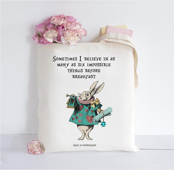 Alice in Wonderland Inspired Tote Bag - Impossible