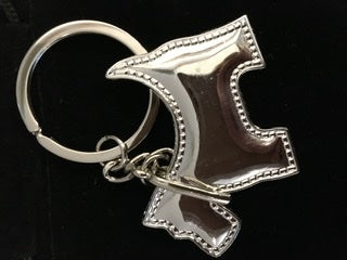 Silver Scottie Dog Design Keyring
