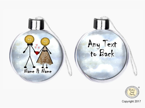 Button Head Family - Personalised (2 Character) Christmas Bauble