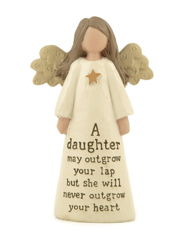 A Daughter will never outgrow your lap - Angel Figurine