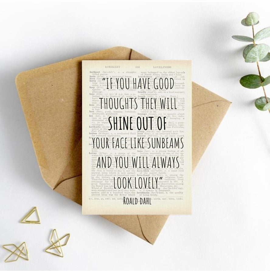 Roald Dahl Quote Card - Good thoughts