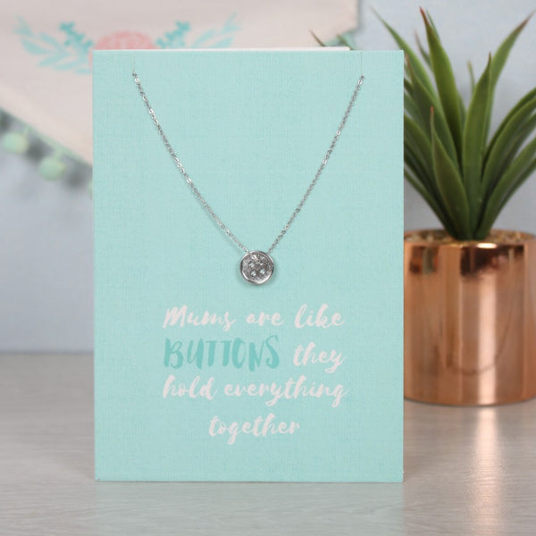 Mums are like Buttons Quote - Necklace and Card Set