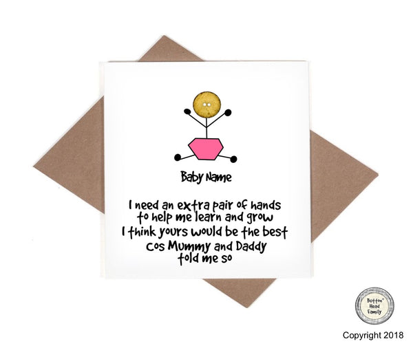 Button Head Family - Personalised Will you be my Godparent Card