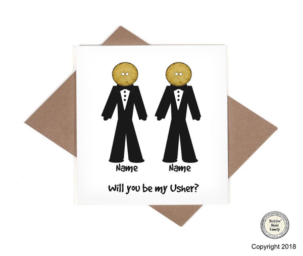 Button Head Family - Personalised - Will you be my Best Man, Usher, Page Boy Card