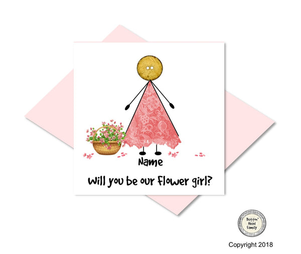 Button Head Family -Personalised will you be my Flowergirl? Card